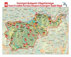 Esztergom-bajóti karitász régió települései jelölve ahol van csoport (1)